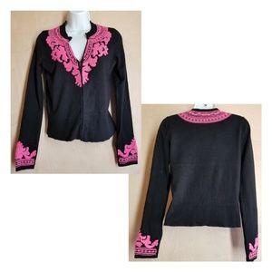 🍁 INC, Black w/ Pink Chenille Cardigan Sweater